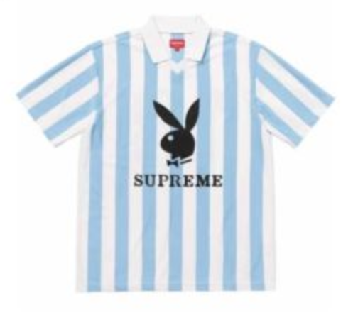 550622e5880d FOR SALE  Supreme   Playboy Soccer Football Jersey Light Blue Medium  Order  Confirmed