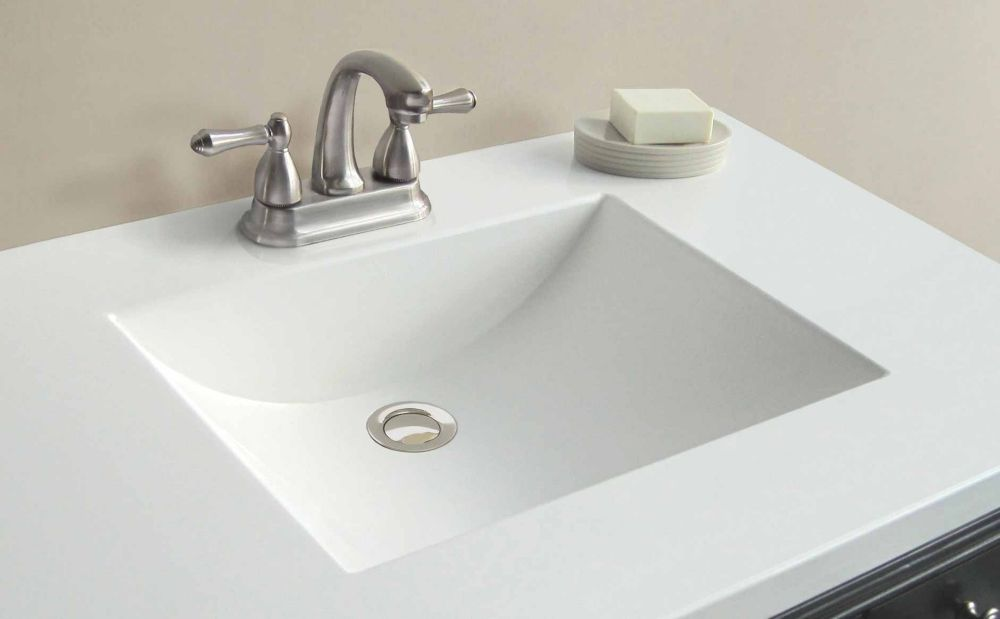 37 Inch W x 22 Inch D White Cultured Marble Vanity Top ...