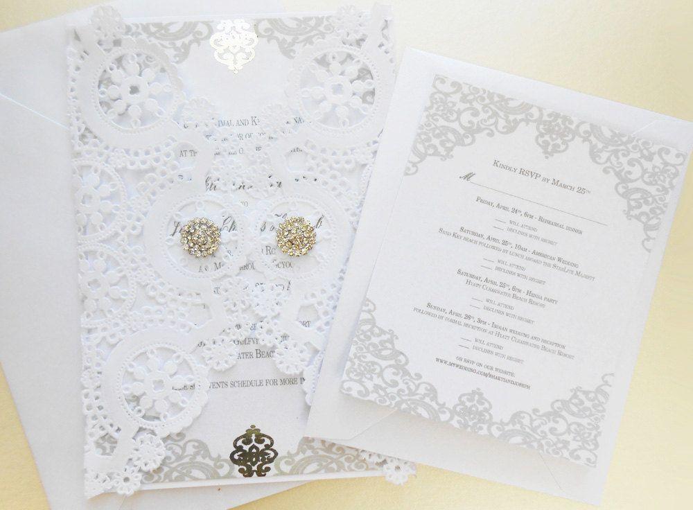 Matte White Royal Lace Laser Cut Gate Fold Wedding Invitation--Custom Laser Cut Doily Wedding Invitation--Luxury Wedding Invitations