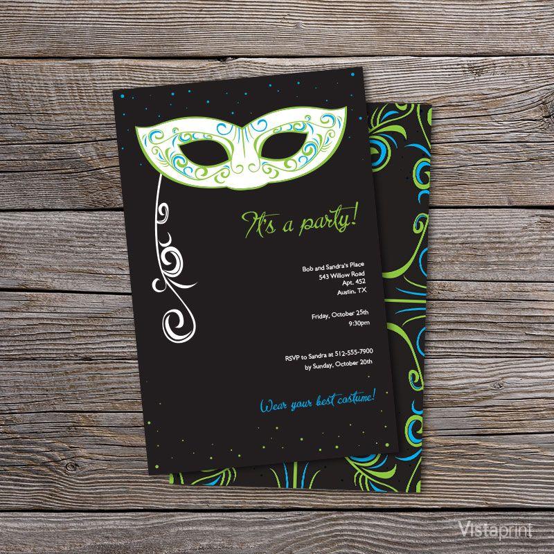 Black Masquerade Ball Party Invitations