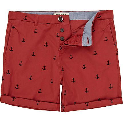 red anchor embroidered shorts - River Island Price: £30.00