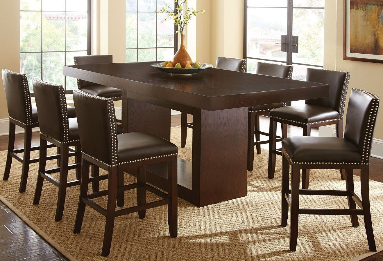 Antonio Counter Height Dining Set W Brown Tiffany Chairs Counter Height Dining Table Counter Height Dining Table