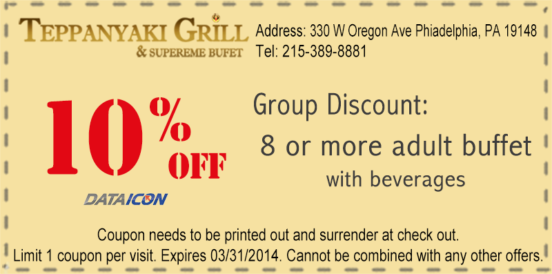 Group Discount Coupon Police Discounts Teppanyaki Group Discounts