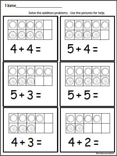 Gold Ten Frames Free Math Addition Worksheet Madebyteachers Math Addition Worksheets Math Addition Kindergarten Math Ten Frames