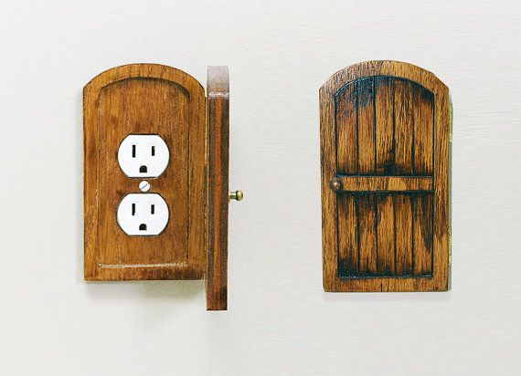 Distressed Wood Fairy Door Outlet Switchplate Cover Home Decor