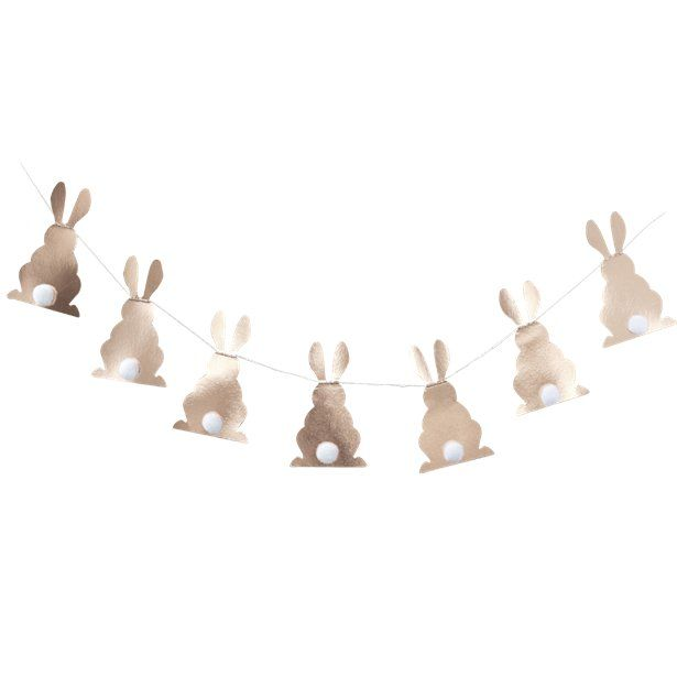 Hoppy Easter Rose Gold Bunny Shaped Bunting - 1.2m