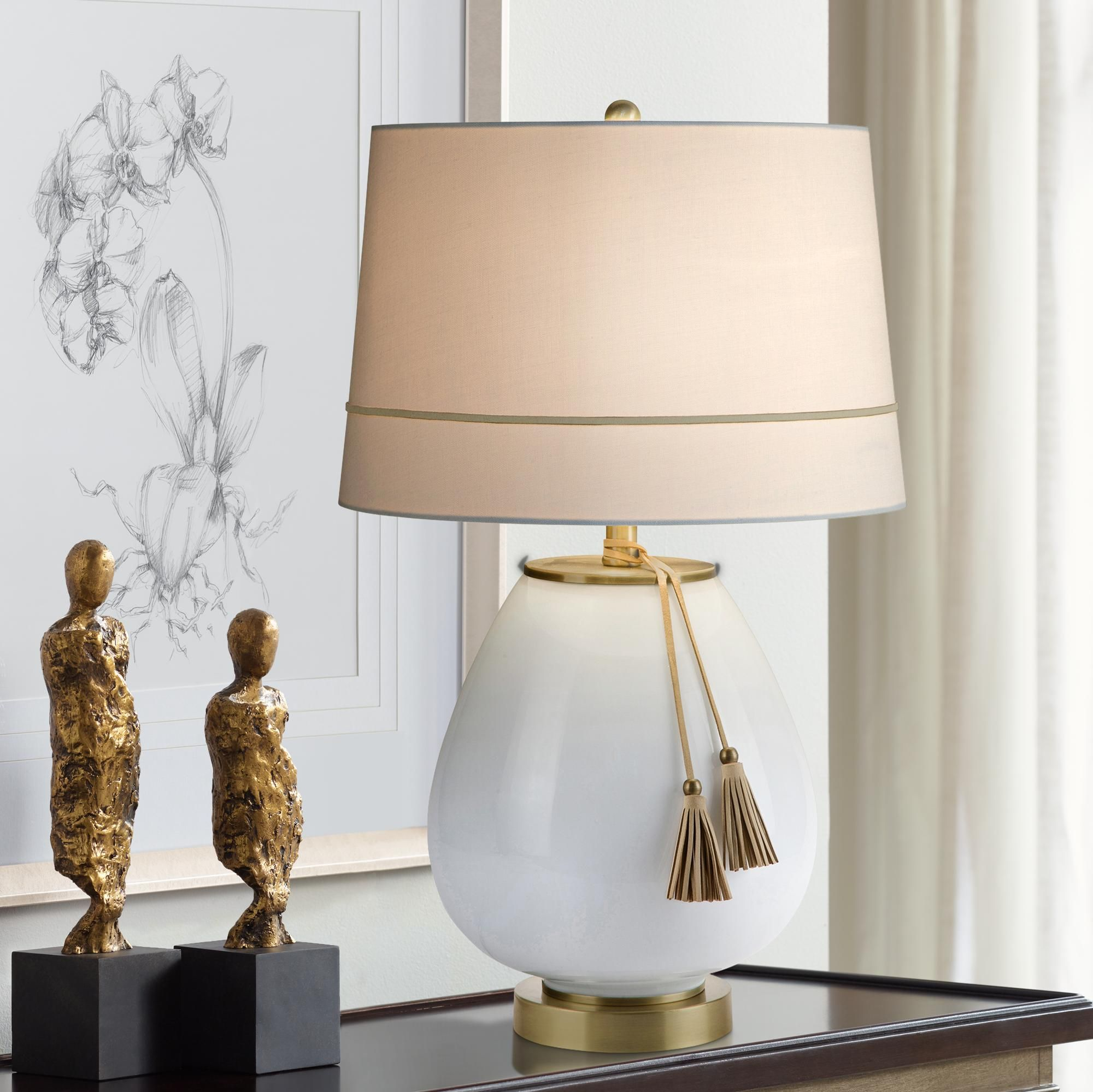Table Lamps Carey White Milk Glass And Antique Brass Table Lamp In 2020 Table Lamp Lamp White Milk Glass