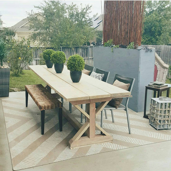 X Style Wood Modern Farmhouse Outdoor Patio Dining Table Https Www Etsy