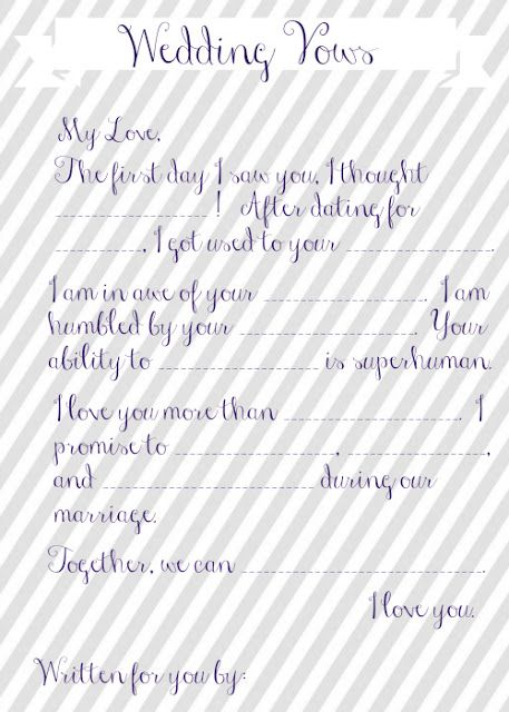 Wedding Vow Mad Libs Free Printable | Wedding vows, Bridal showers ...
