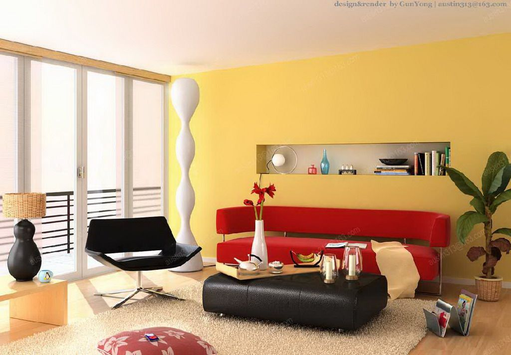 Red Stylish Sofa In A Contemporary Apartment Living Room Design With ...