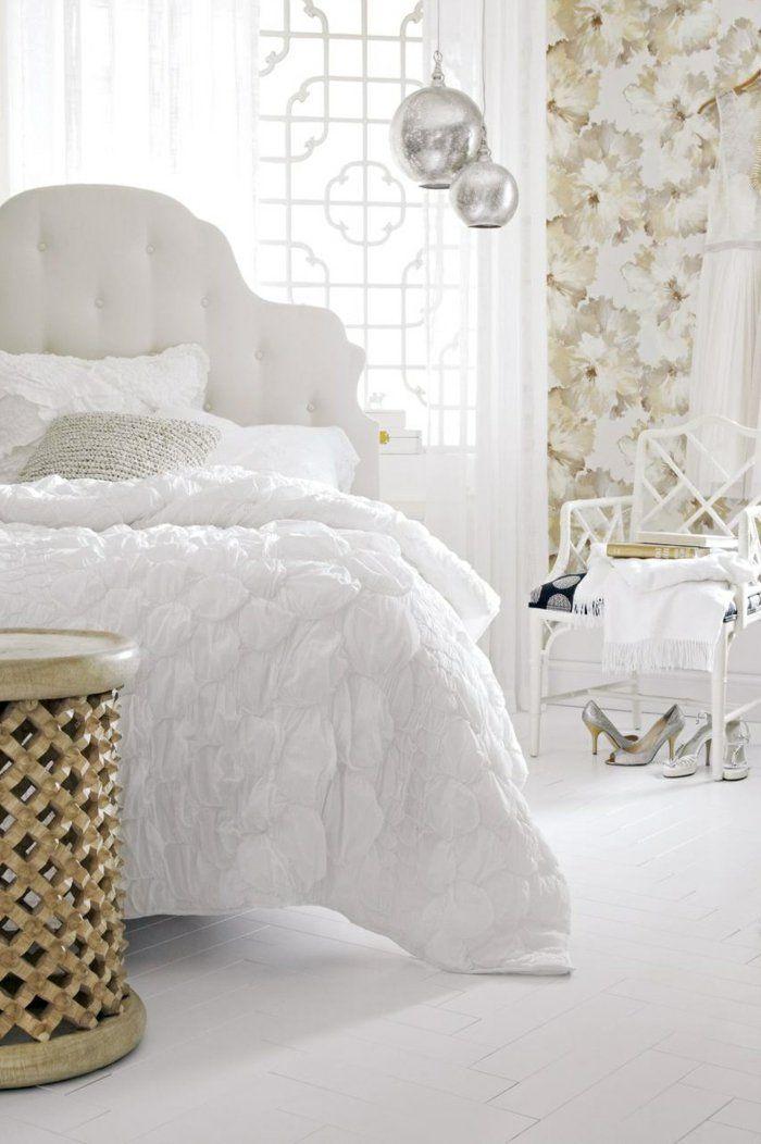 tapete muster schlafzimmer wandgestaltung florales muster weiße - tapete für schlafzimmer