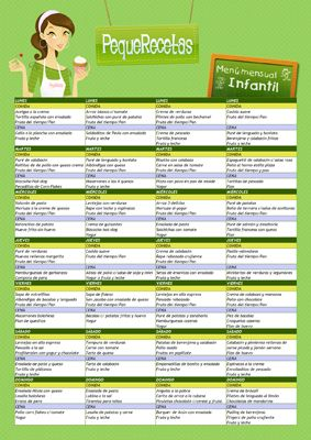 Men mensual infantil menu lunches and recetas for Planning semanal comidas