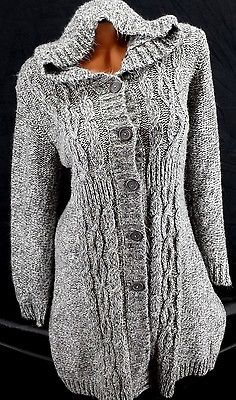 Motherhood Maternity Gray Hooded Chunky Cable Knit Duster Cardigan ...