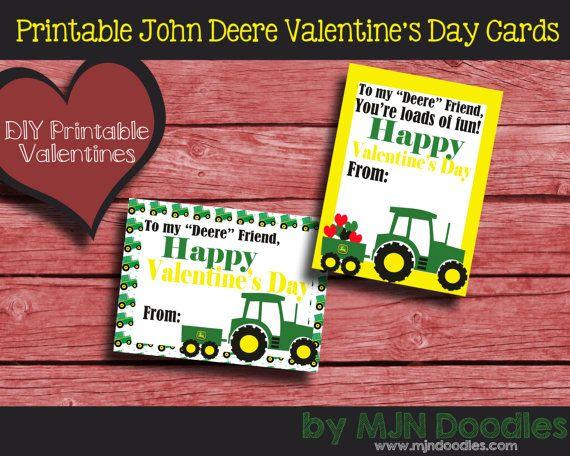 Printable John Deere Valentines Day Cards Instant Download Tractors Trucks Farm Outdoors Diy Valentines School Party