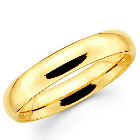 d745f7e56a31e6 10K Solid Yellow Gold 4mm Plain Wedding Band Ring | Products ...