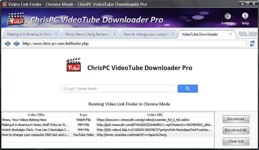 ChrisPC VideoTube Downloader Pro 11.12.13 Free Download | Video websites,  Youtube playlist, Song reviews