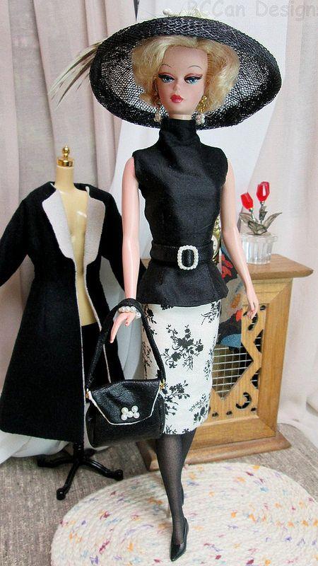 220 Bccan Designs Black White Coat For Silkstone 2 Dress Barbie Doll Vintage Barbie Clothes Barbie Clothes