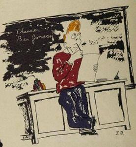 "Student art by Joe Belflower in the 1950 ""Blue and Grey"" yearbook of Robert E. Lee high school in Jacksonville, Florida.  #RobertELee #yearbook #BlueAndGrey #1950"