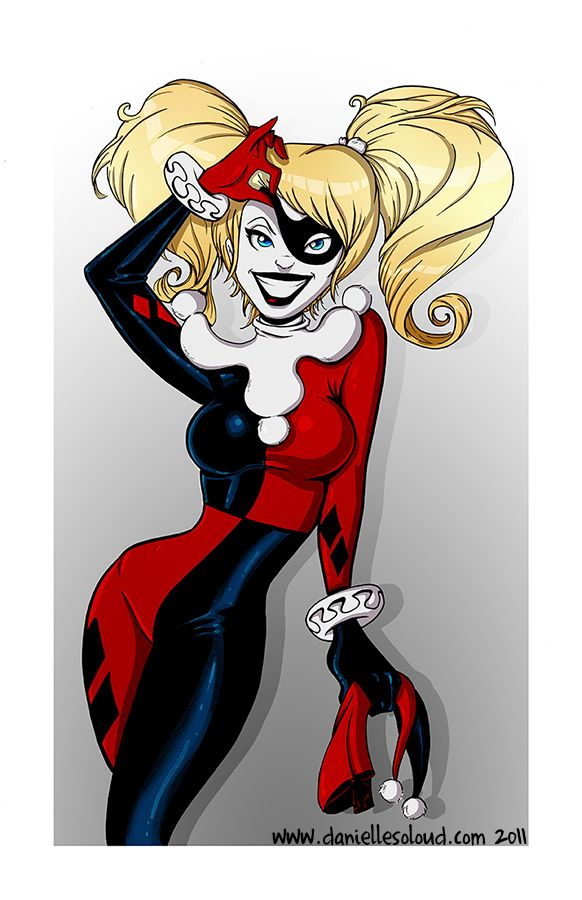 Harley Quinn peaking though her mask #Cartoon