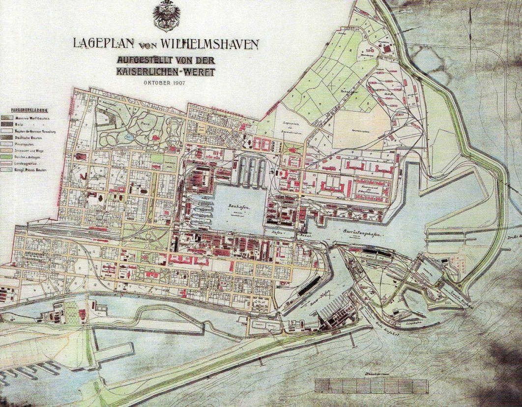 Lageplan Von 1907 Wilhelmshaven Die Stadtgeschichte Ist Seit Der Einweihung Als Erster Deutscher Kriegshafen An Der Jade Wilhelmshaven Kriegerin Kriegsmarine