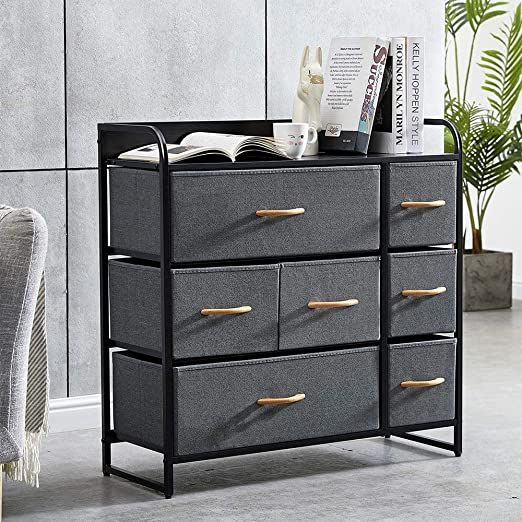 Homesailing Grey Bedroom Chest Of 7 Drawers Fabric Dresser Closet Living Room Unit Storage Sideboard Cabinet F In 2020 Sideboard Storage Fabric Dresser Dresser Storage