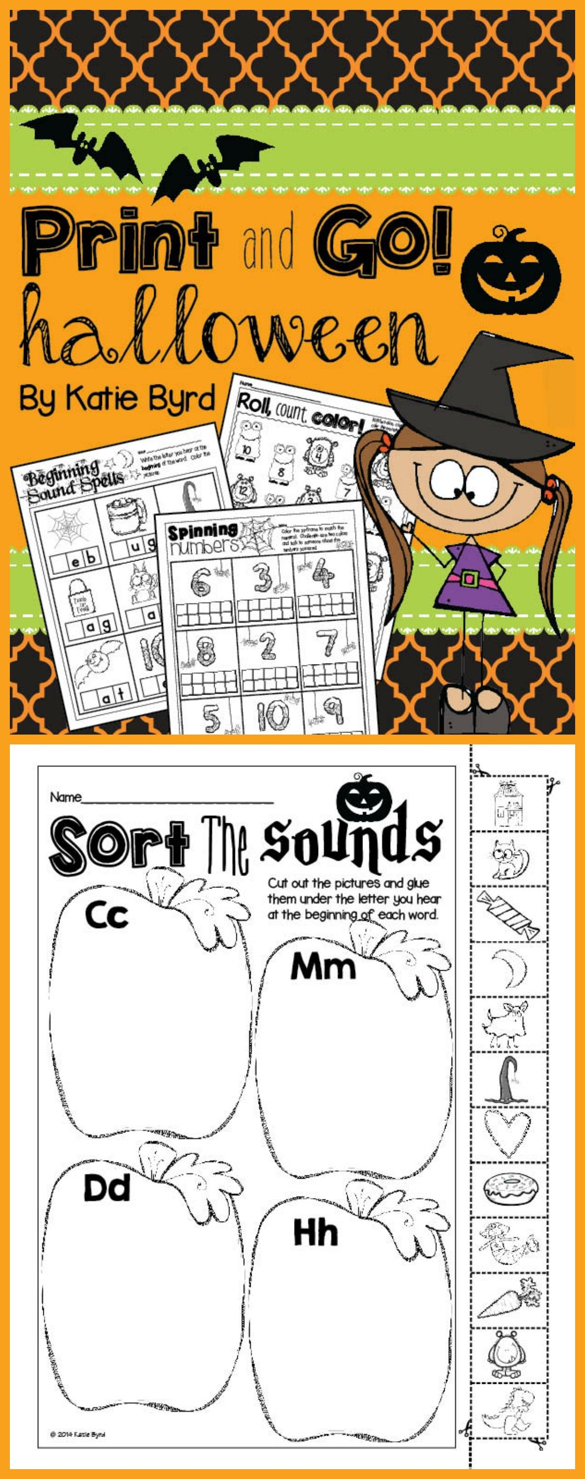 Print and go halloween math and literacy no prep literacy