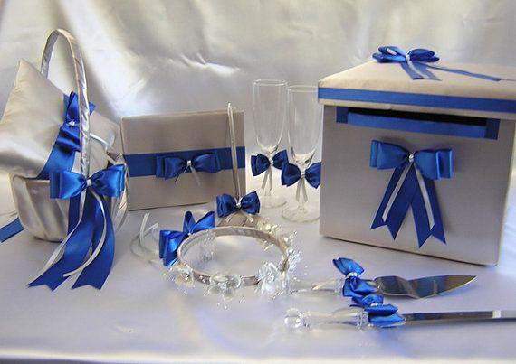 Argent bleu Royal demoiselle panier Halo Ring par weddingsbyminali