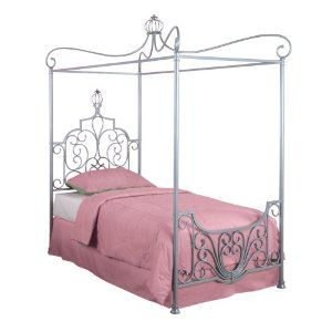 Amazon Com Powell Princess Rebecca Sparkle Silver Canopy Bed Twin Home Kitchen Canopy Bed Frame Twin Canopy