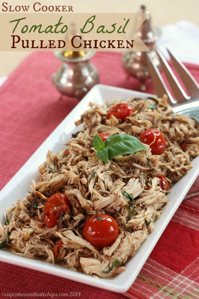 Slow cooker tomato basil pulled chicken recipe see for Easy healthy chicken crockpot recipes