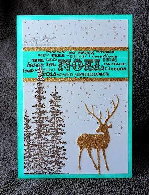 Christmas card, green, gold, deer, firs