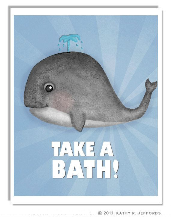 Whale Art Print For Kid S Bathroom Cute Blue Ocean Themed Wall Wipe Your Spills Don T Waste Water Or Take A Bath