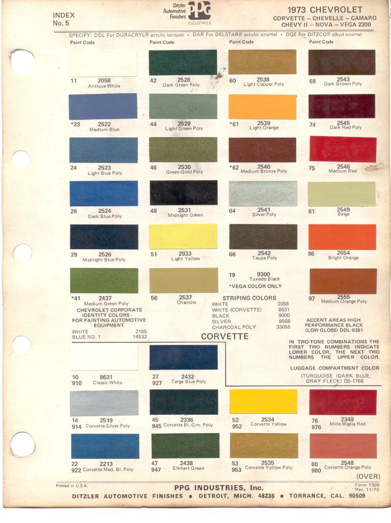 1973 Chevrolet Corvette Stingray Color Code Reference Guide