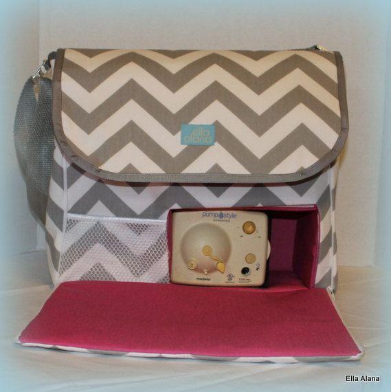 f8a83fdb8a33f Gray Chevron Hot Pink Breast Pump Bag With Messenger by EllaAlana ...