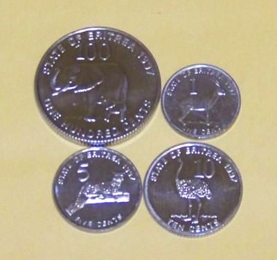 Animal Coins Of The World Eritrea Super 4 Coin Set A Bu