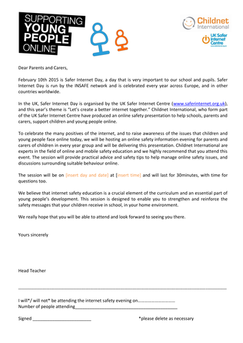Safer Internet Day Letter To Parents And Carers Letter To Parents Safe Internet Carer