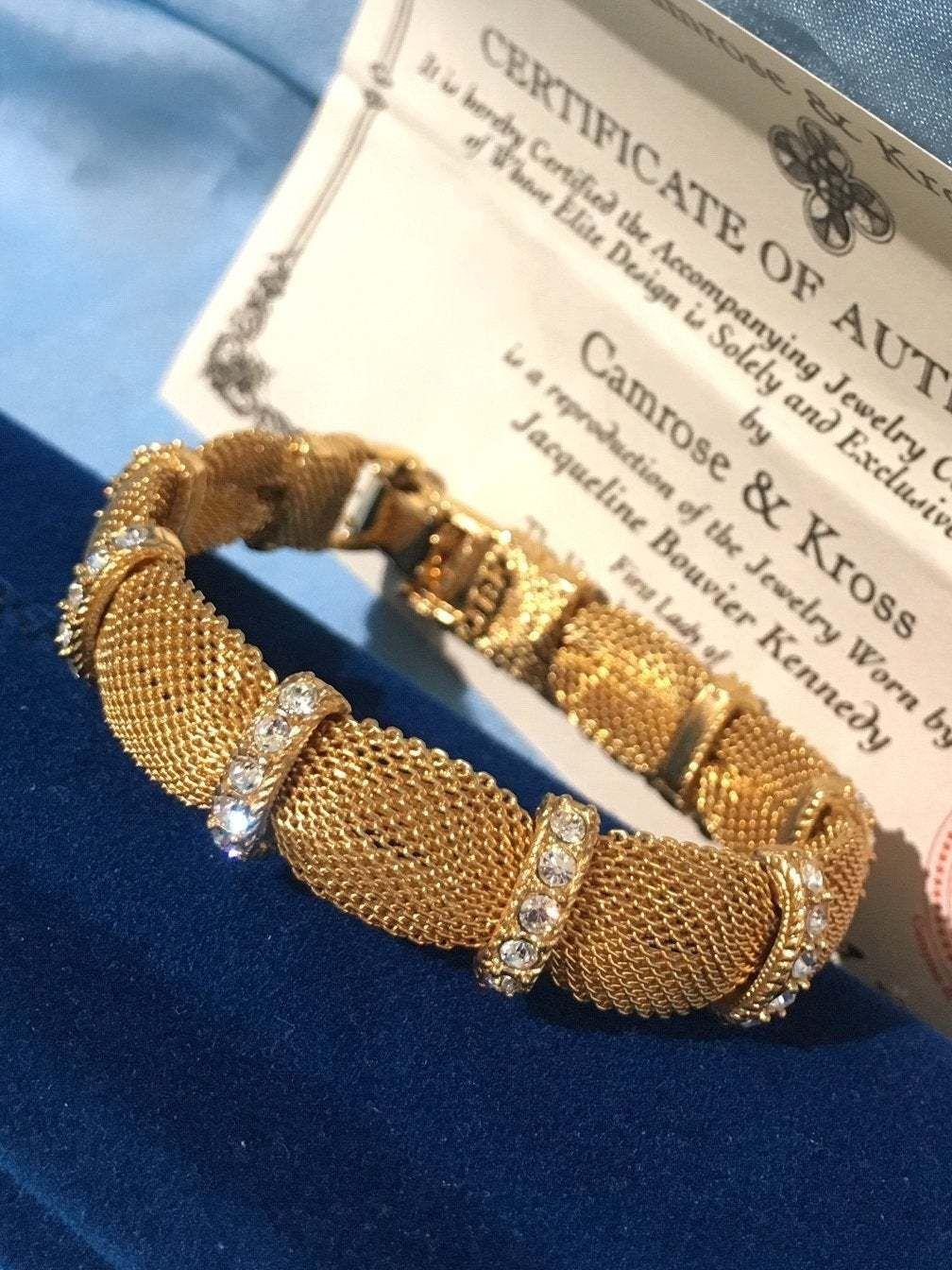 Jackie Kennedy Gold Mesh Swarovski Crystal Bracelet Swarovski