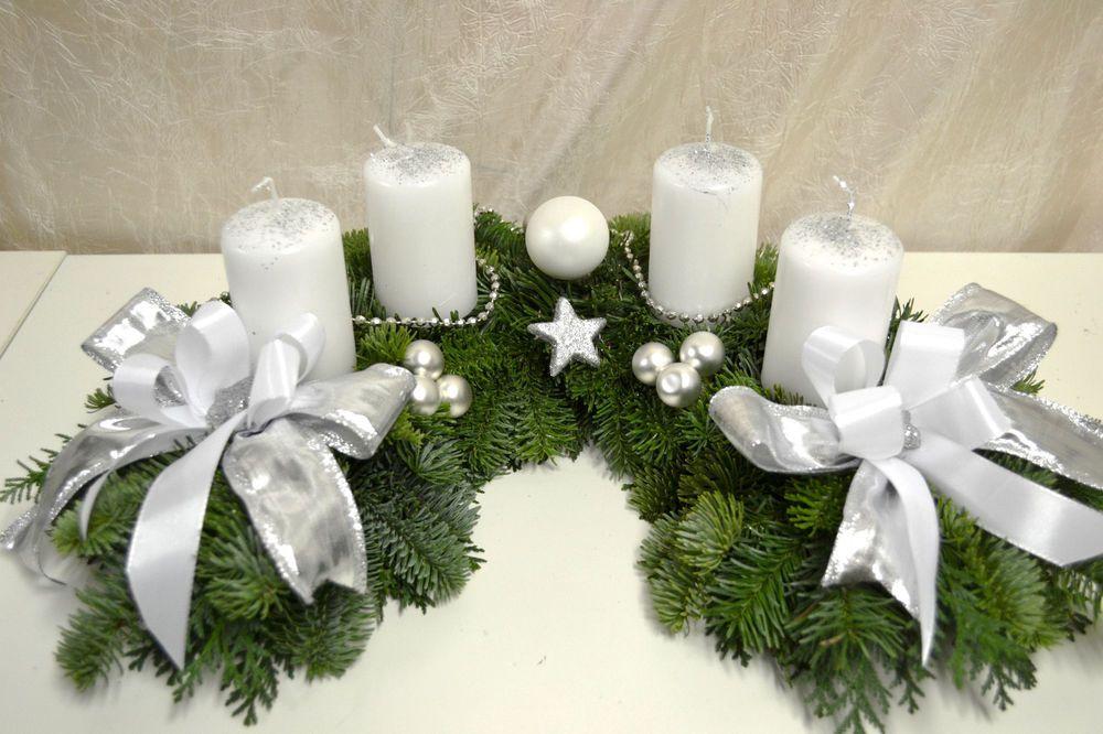 adventskranz frisch halbmond wei silber 40 cm weihnachten. Black Bedroom Furniture Sets. Home Design Ideas