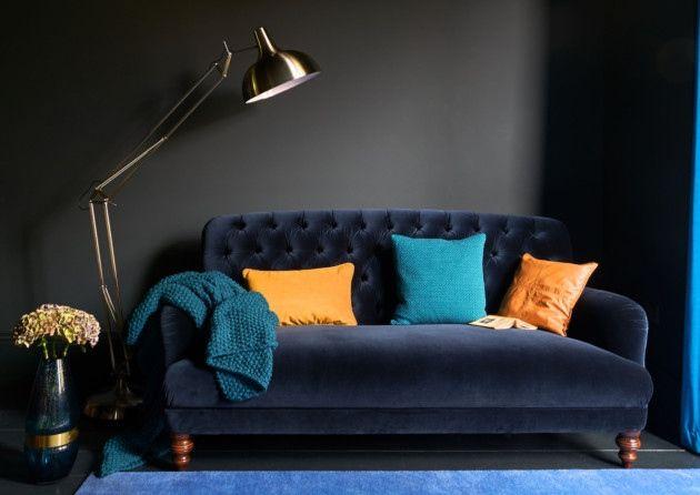 The Bailey Velvet Maxi Sofa Royal Blue 1 599 Available From Dfs Pa Photo Handout Teal Sofa Grey Sofa Decor Beautiful Living Rooms