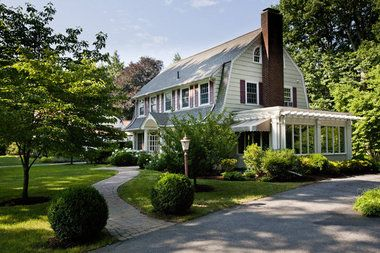 Nice Enclosed Porch Curb Appeal Western Mass House Tour Dutch Colonial Revival In Longmead Dutch Colonial Exterior Colonial Exterior Dutch Colonial Homes