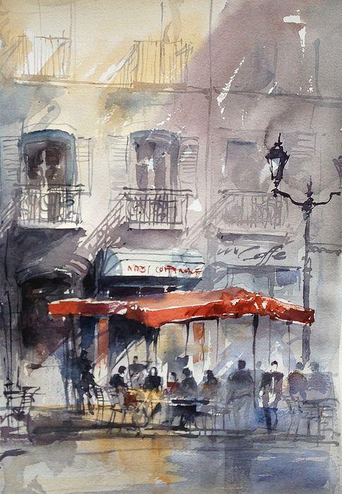 Paris Cafe Painting Watercolor Architecture Watercolor Artists
