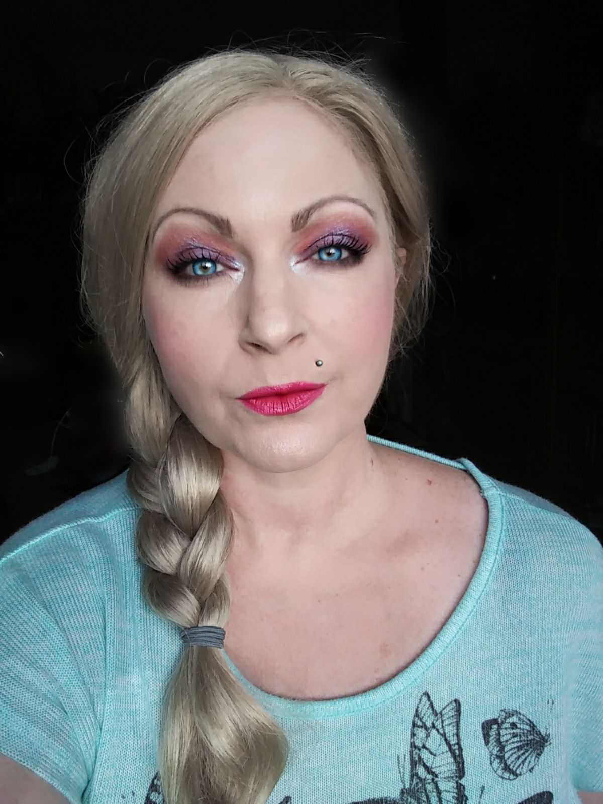 Elsa inspired makeup look Colourpop eye shadow palettes