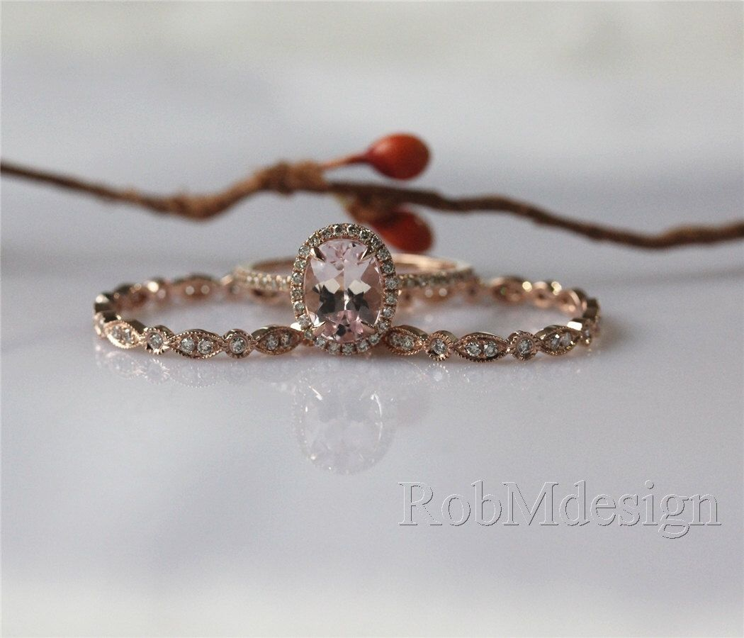 Halo Wedding Ring Set in 14K Rose Gold 6*8mm Oval