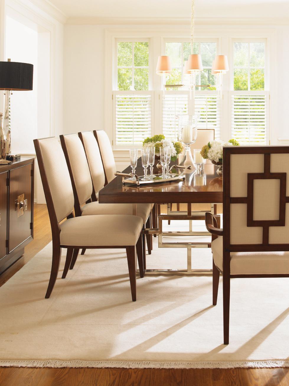 Astonishing Mirage Monroe Rectangular Double Pedestal Dining Table Set Inzonedesignstudio Interior Chair Design Inzonedesignstudiocom