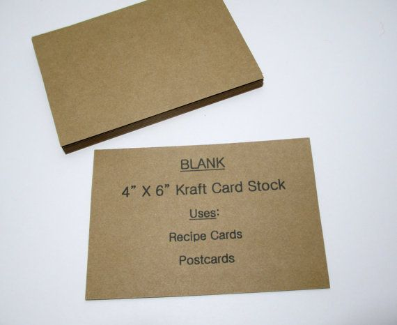 50 Kraft 4x6 Blank Cardstock Index Cards Recipe Cards