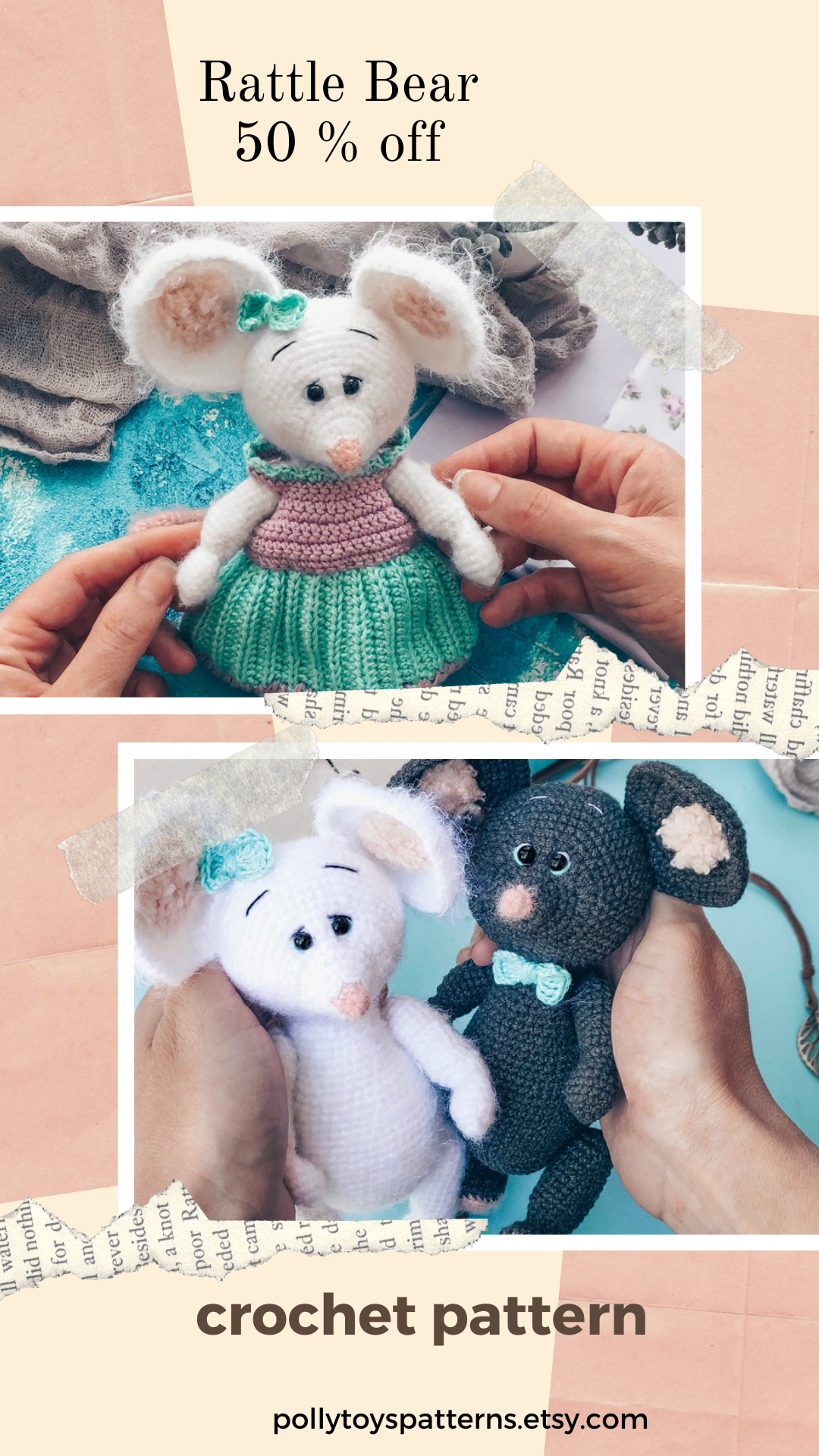 Crochet PATTERN Mouse with clothes Amigurumi Crochet toy Amigurumi mouse pattern