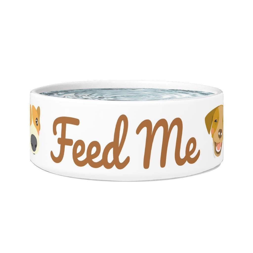 Funny Dog Bowl Feed Me 7 5 X 3 5 White Ceramic Dog Food Bowl