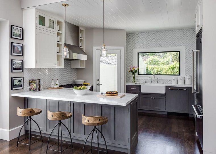 cocinas modernas blancas y grises ideas de barra - Cocinas Modernas Blancas