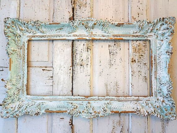 7e52ab22b50f Soft blue picture frame wall hanging shabby French chic distressed faded  cloudy colors gold accented ornate home decor anita spero design