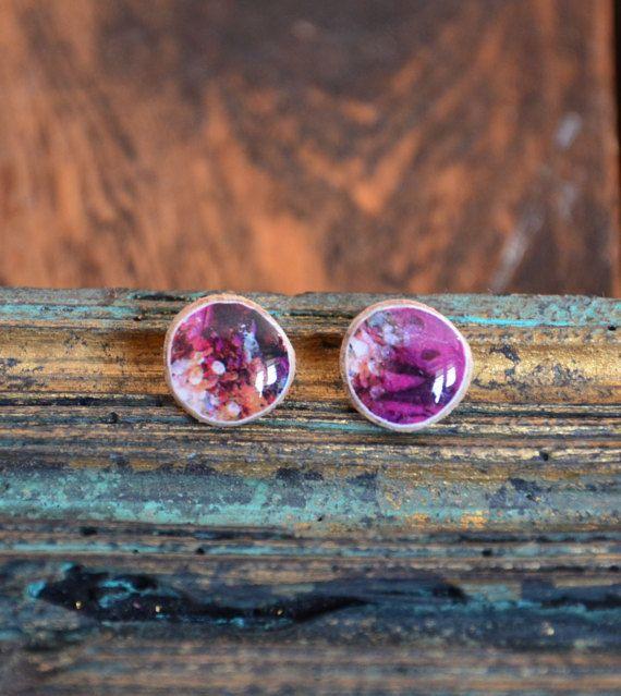 boho earrings fuchsia ear studs pink wood earings by TEENYtinyART