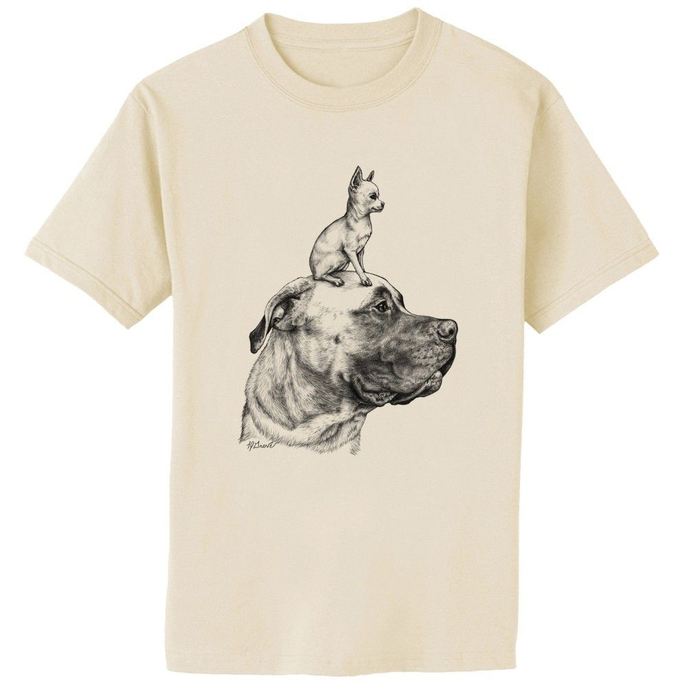 Mastiff+and+Chihuahua+Dog+Art+TShirt+Adult+Sizes+by+artbyljgrove,+$17.49